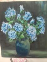 油畫 藍玫瑰